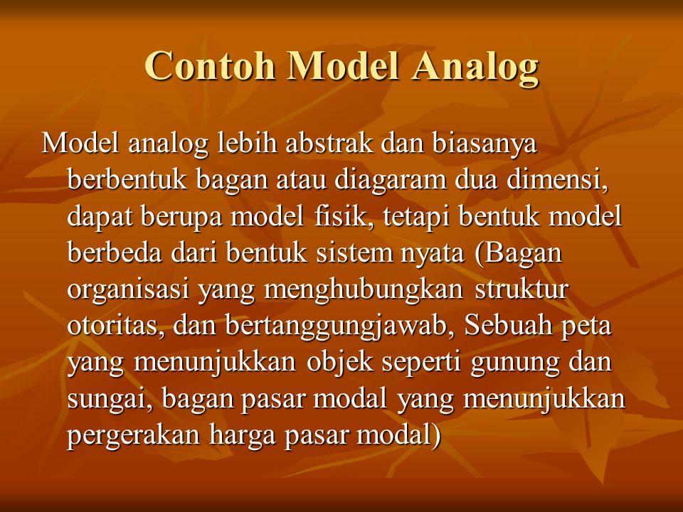 Contoh Model Analog Model analog lebih abstrak dan biasanya berbentuk bagan atau diagaram dua dimensi, dapat berupa model fisik, tetapi bentuk model b