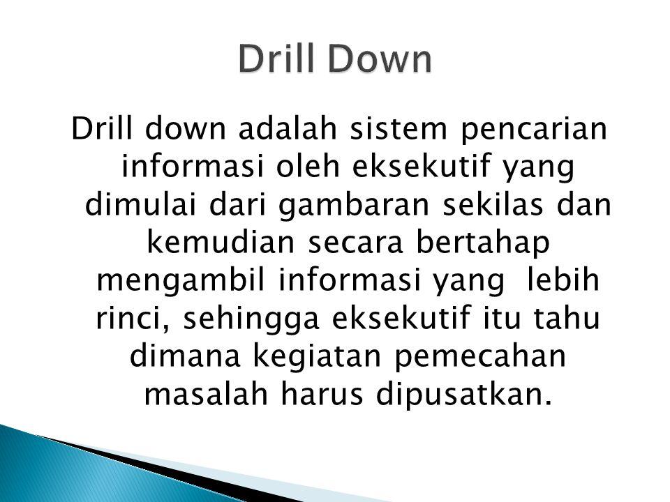 Drill down adalah sistem pencarian informasi oleh eksekutif yang dimulai dari gambaran sekilas dan kemudian secara bertahap mengambil informasi yang l