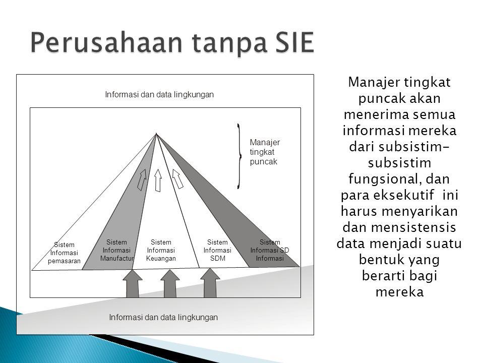 Sistem Informasi pemasaran Informasi dan data lingkungan Manajer tingkat puncak Sistem Informasi Manufactur Sistem Informasi Keuangan Sistem Informasi