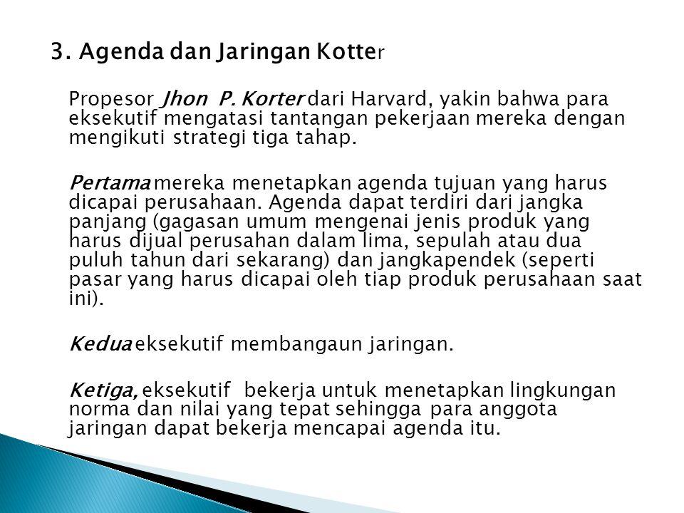 3. Agenda dan Jaringan Kotte r Propesor Jhon P. Korter dari Harvard, yakin bahwa para eksekutif mengatasi tantangan pekerjaan mereka dengan mengikuti