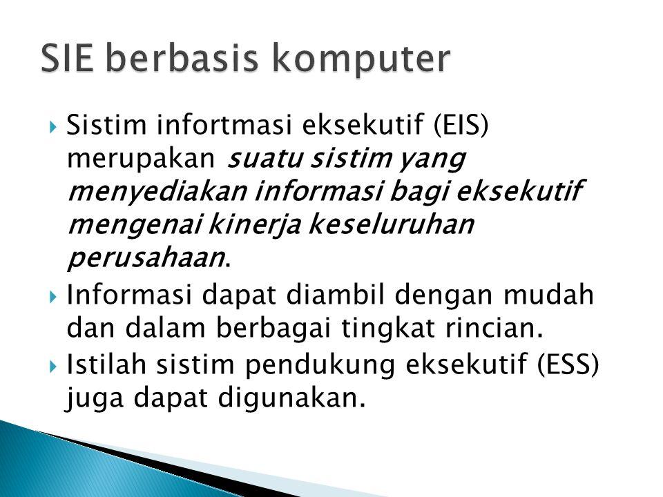  Sistim infortmasi eksekutif (EIS) merupakan suatu sistim yang menyediakan informasi bagi eksekutif mengenai kinerja keseluruhan perusahaan.  Inform
