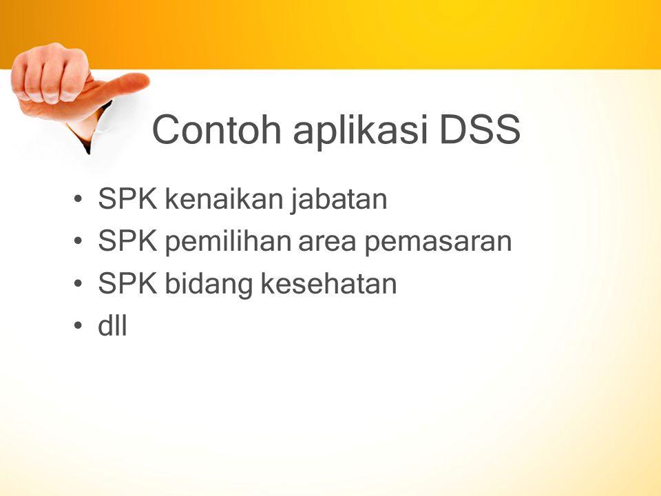 Contoh aplikasi DSS SPK kenaikan jabatan SPK pemilihan area pemasaran SPK bidang kesehatan dll