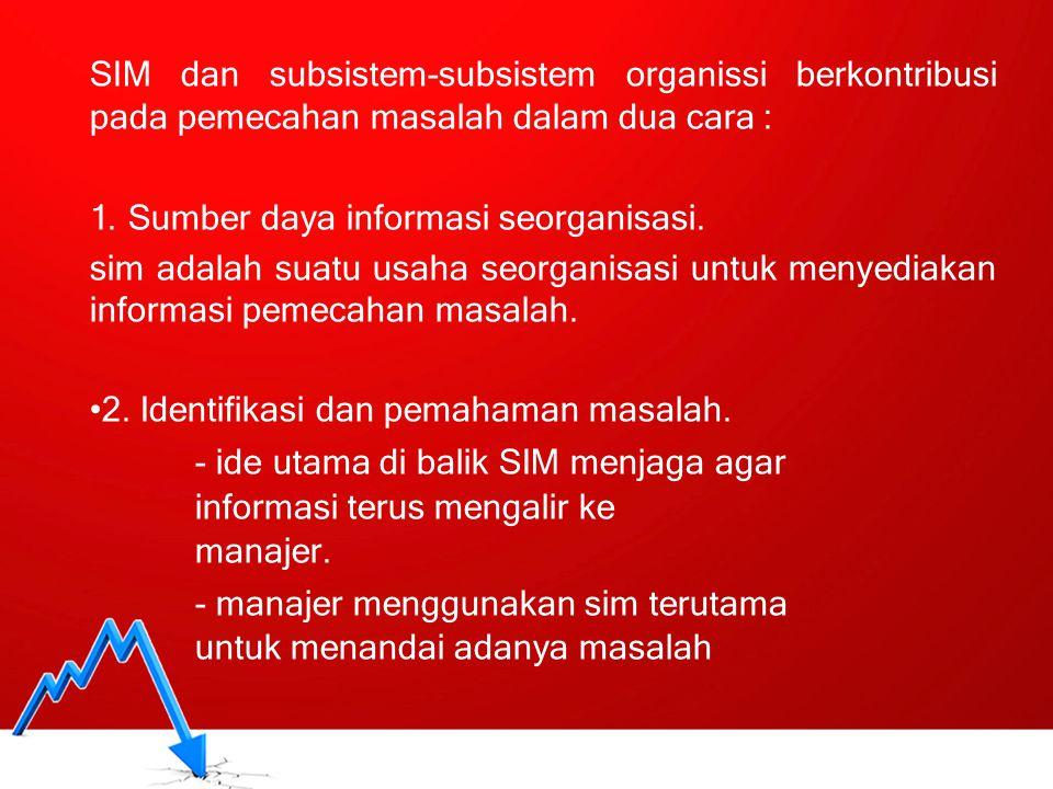 SIM_98 SIM dan subsistem-subsistem organissi berkontribusi pada pemecahan masalah dalam dua cara : 1. Sumber daya informasi seorganisasi. sim adalah s