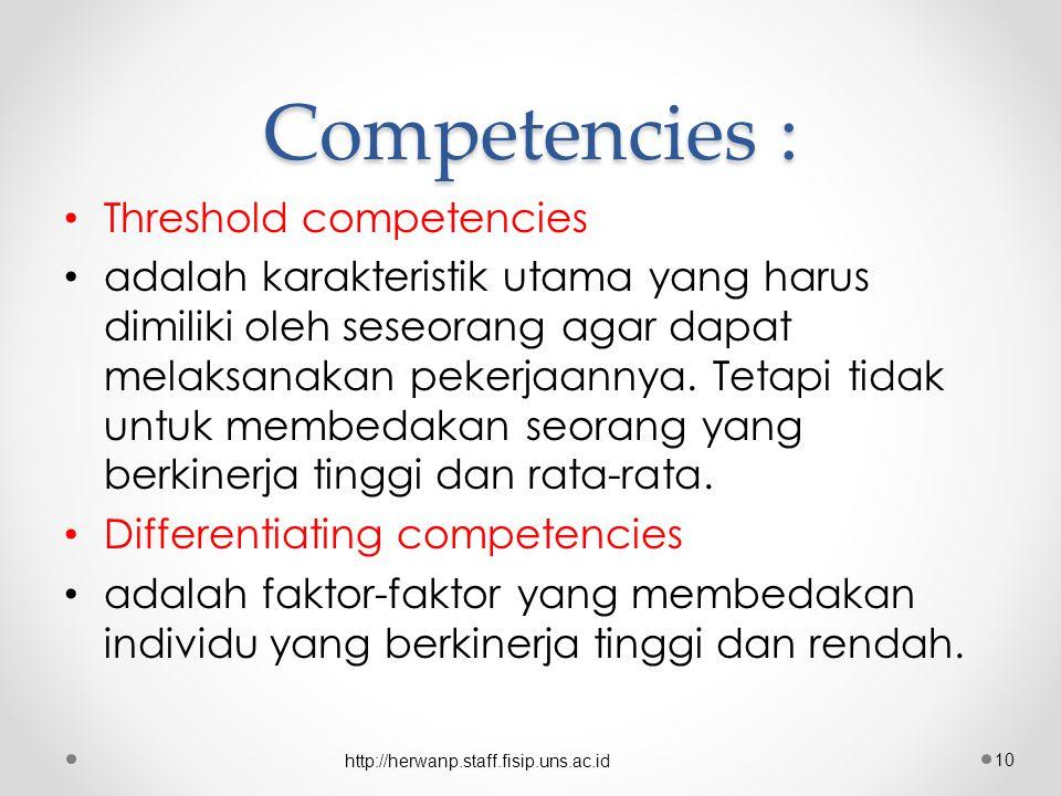 Competencies : Threshold competencies adalah karakteristik utama yang harus dimiliki oleh seseorang agar dapat melaksanakan pekerjaannya.