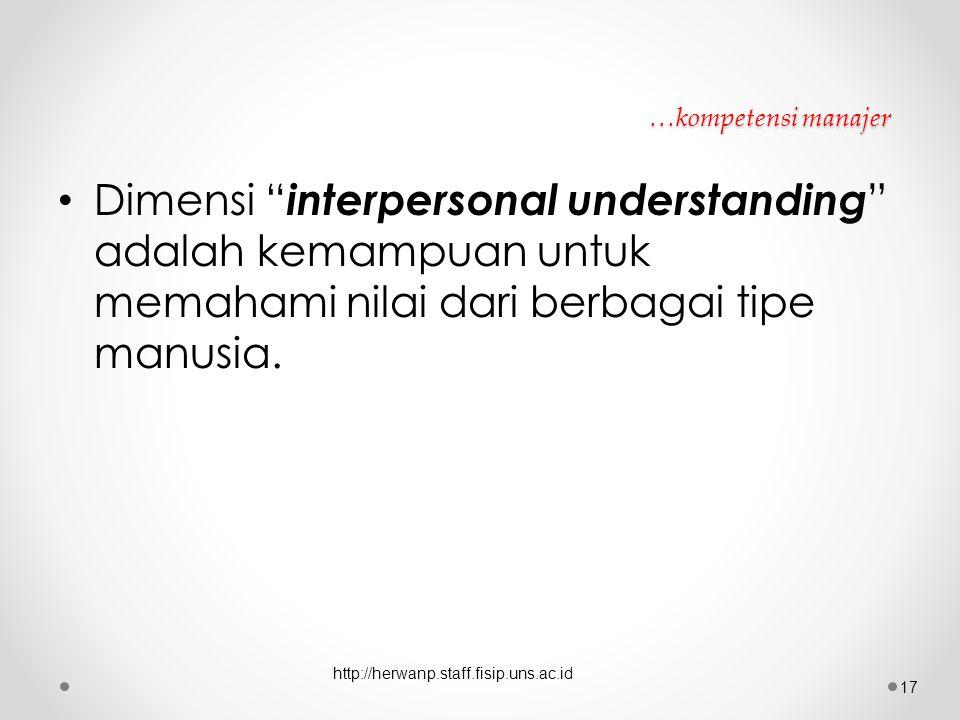 """…kompetensi manajer Dimensi """" interpersonal understanding """" adalah kemampuan untuk memahami nilai dari berbagai tipe manusia. http://herwanp.staff.fis"""