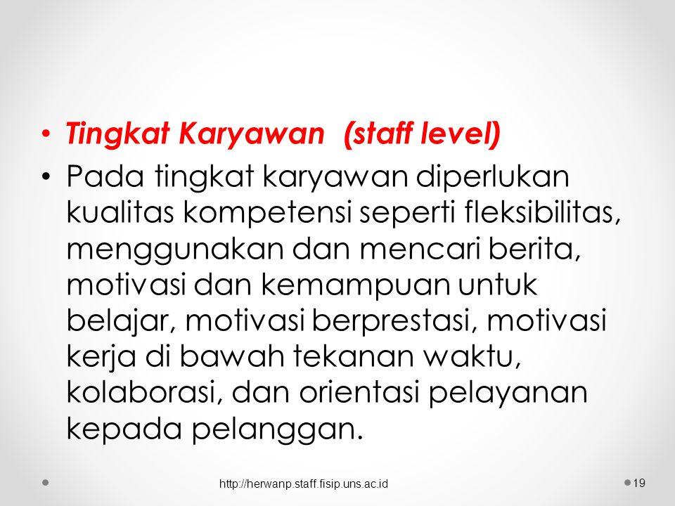 Tingkat Karyawan (staff level) Pada tingkat karyawan diperlukan kualitas kompetensi seperti fleksibilitas, menggunakan dan mencari berita, motivasi dan kemampuan untuk belajar, motivasi berprestasi, motivasi kerja di bawah tekanan waktu, kolaborasi, dan orientasi pelayanan kepada pelanggan.