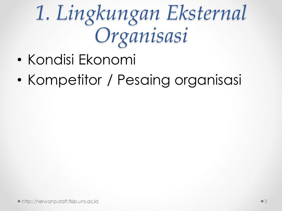 1. Lingkungan Eksternal Organisasi Kondisi Ekonomi Kompetitor / Pesaing organisasi http://herwanp.staff.fisip.uns.ac.id3