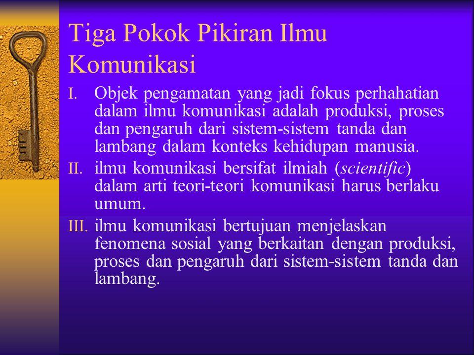 Tiga Pokok Pikiran Ilmu Komunikasi I.