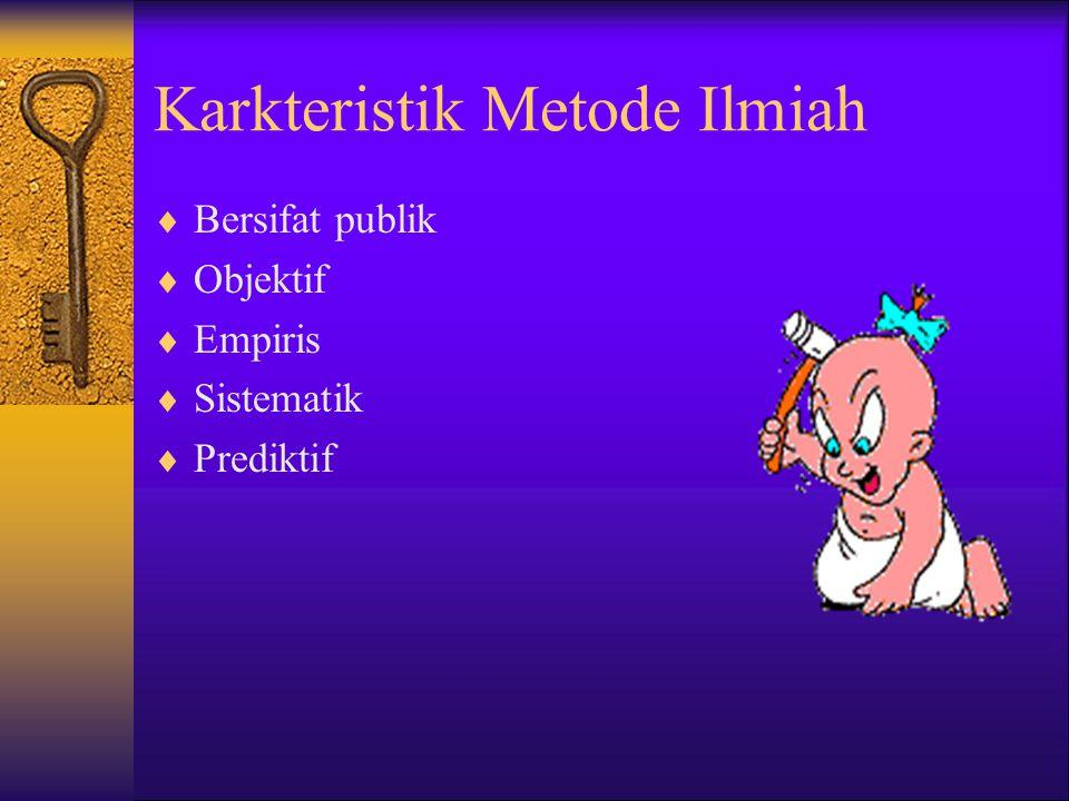 Karkteristik Metode Ilmiah  Bersifat publik  Objektif  Empiris  Sistematik  Prediktif