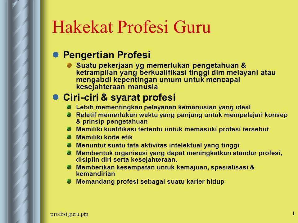 profesi guru.pip 1 Hakekat Profesi Guru Pengertian Profesi Suatu pekerjaan yg memerlukan pengetahuan & ketrampilan yang berkualifikasi tinggi dlm mela