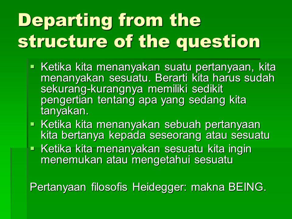 Question of the meaning of Being Dasein adalah entitas yang bisa mempertanyakan makna atau hakekat dari BEING.