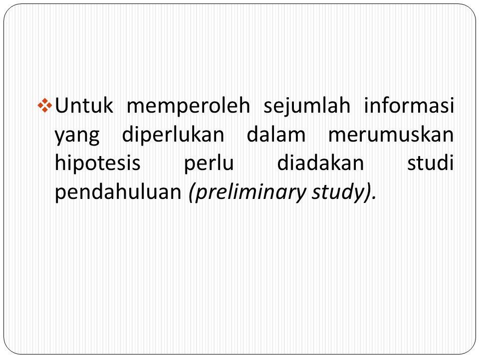  Dalam pembuatan kesimpulan dalam suatu penelitian adalah hipotesis, yang merupakan kesimpulan atau jawaban sementara tentang masalah penelitian, yan