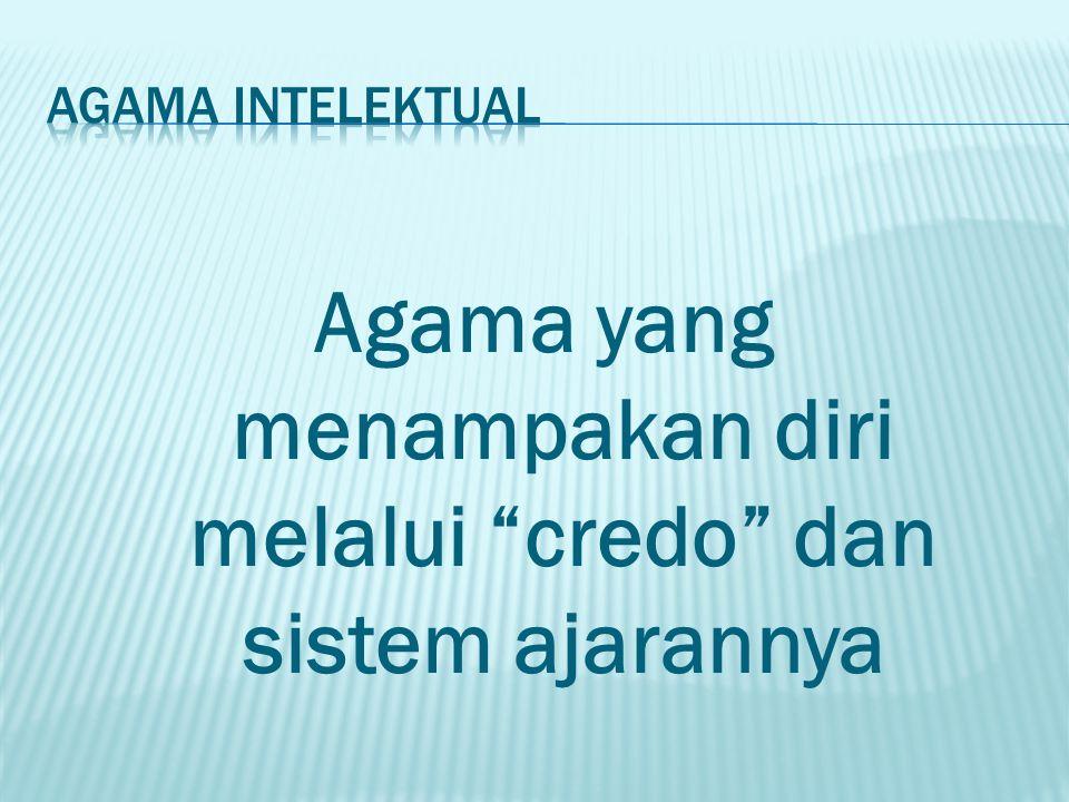 "Agama yang menampakan diri melalui ""credo"" dan sistem ajarannya"