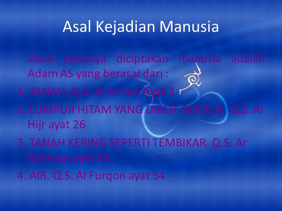 Asal Kejadian Manusia Awal mulanya diciptakan manusia adalah Adam AS yang berasal dari : 1. TANAH. Q.S. Al An'am Ayat 2 2. LUMPUR HITAM YANG DIBERI BE