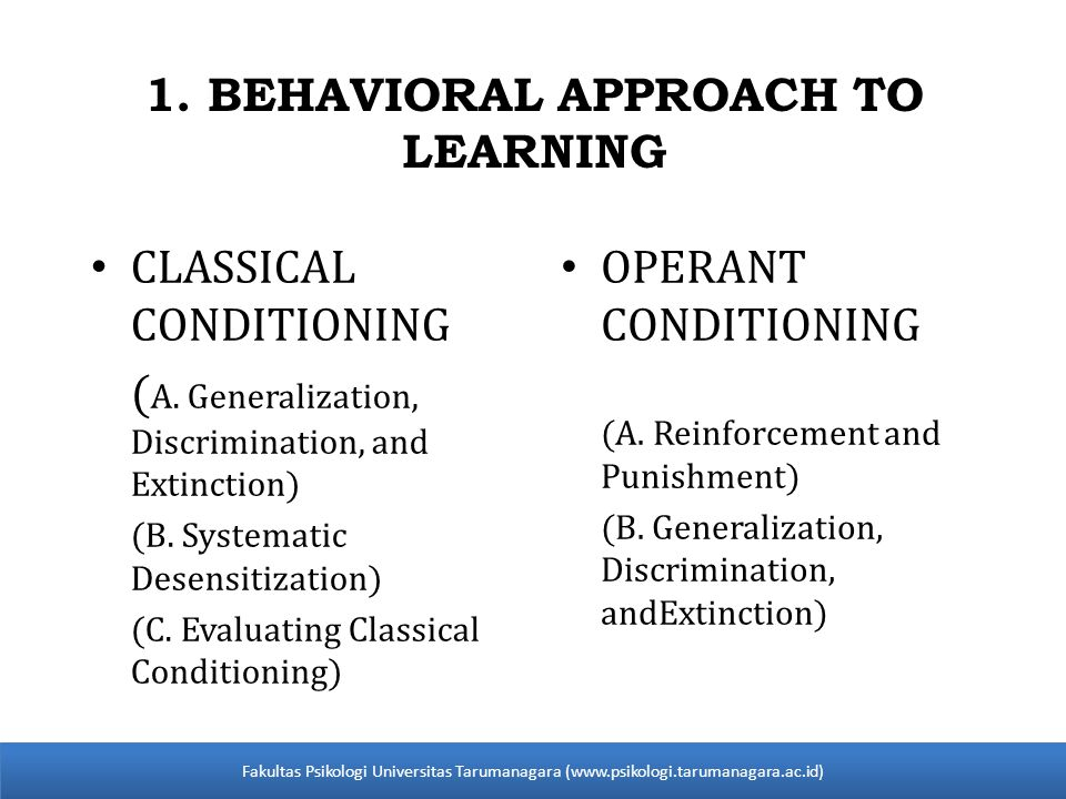 1. BEHAVIORAL APPROACH TO LEARNING CLASSICAL CONDITIONING ( A. Generalization, Discrimination, and Extinction) (B. Systematic Desensitization) (C. Eva