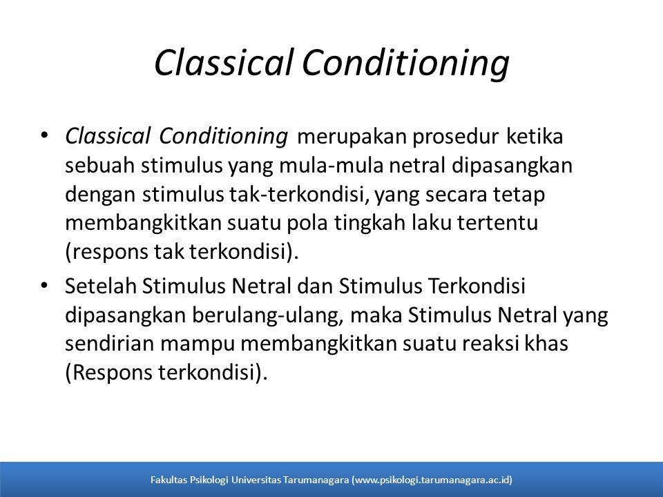 Classical Conditioning Classical Conditioning merupakan prosedur ketika sebuah stimulus yang mula-mula netral dipasangkan dengan stimulus tak-terkondisi, yang secara tetap membangkitkan suatu pola tingkah laku tertentu (respons tak terkondisi).