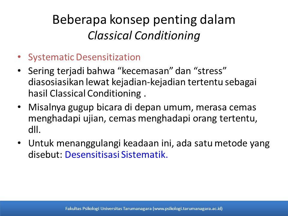 Systematic Desensitization Sering terjadi bahwa kecemasan dan stress diasosiasikan lewat kejadian-kejadian tertentu sebagai hasil Classical Conditioning.