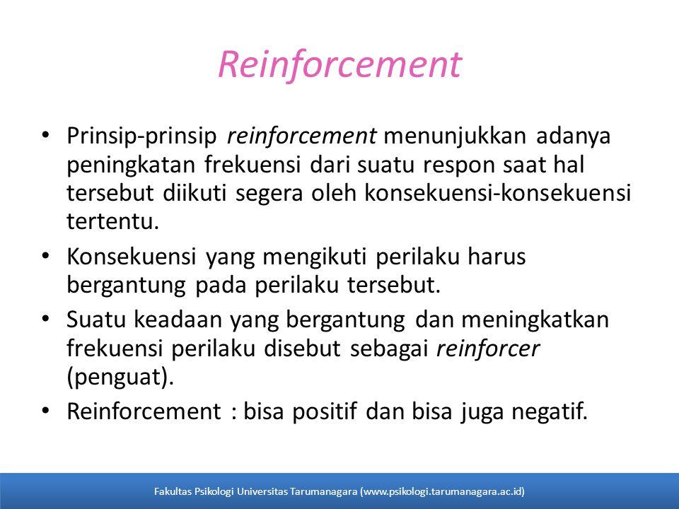Reinforcement Prinsip-prinsip reinforcement menunjukkan adanya peningkatan frekuensi dari suatu respon saat hal tersebut diikuti segera oleh konsekuensi-konsekuensi tertentu.