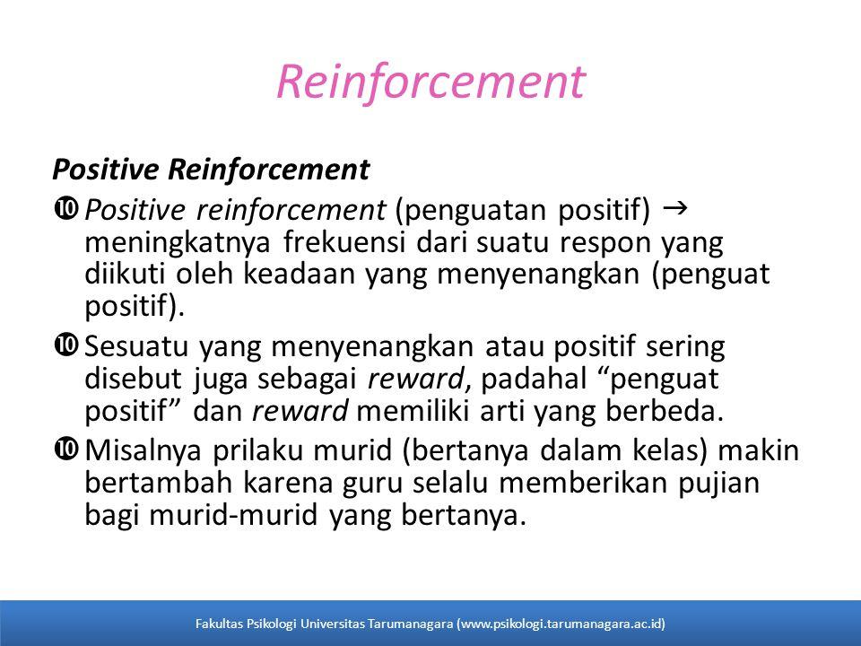 Reinforcement Positive Reinforcement  Positive reinforcement (penguatan positif)  meningkatnya frekuensi dari suatu respon yang diikuti oleh keadaan yang menyenangkan (penguat positif).