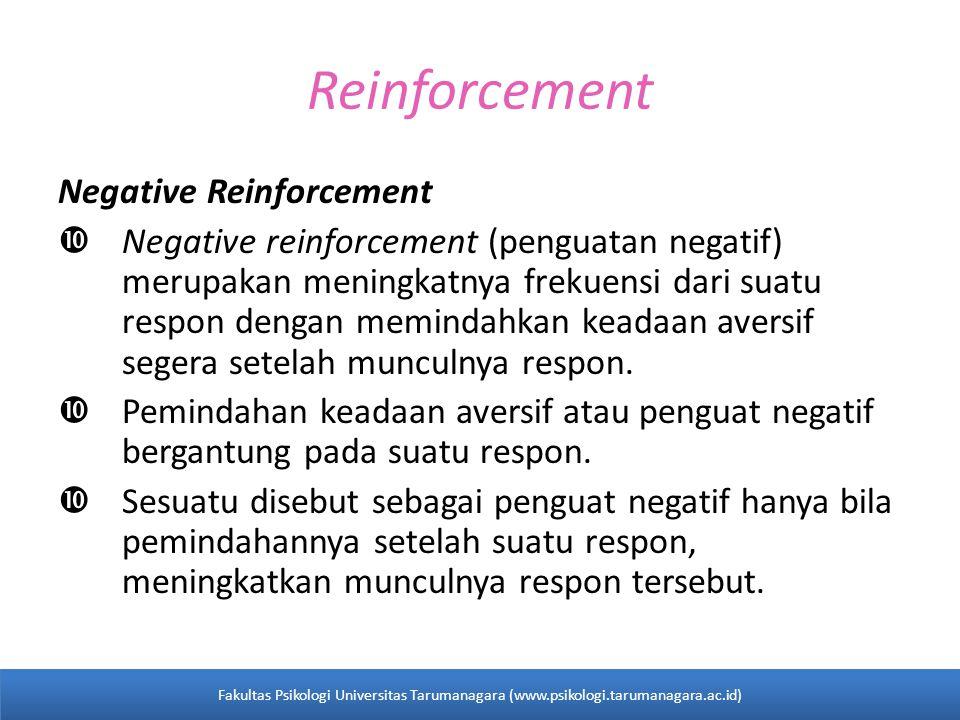 Reinforcement Negative Reinforcement  Negative reinforcement (penguatan negatif) merupakan meningkatnya frekuensi dari suatu respon dengan memindahkan keadaan aversif segera setelah munculnya respon.