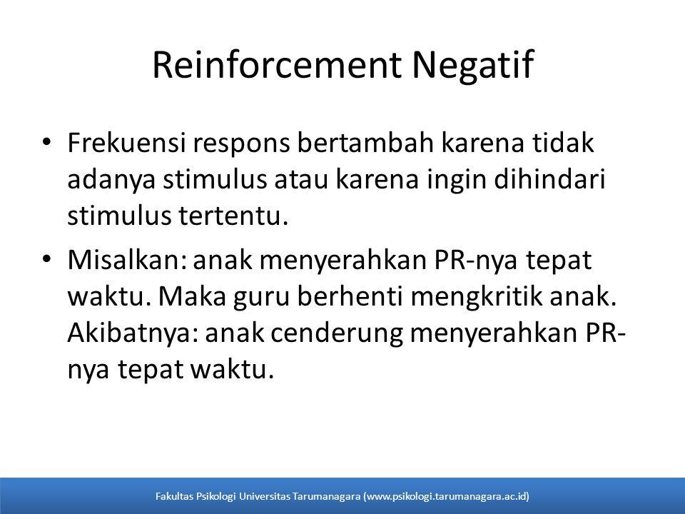 Reinforcement Negatif Frekuensi respons bertambah karena tidak adanya stimulus atau karena ingin dihindari stimulus tertentu.