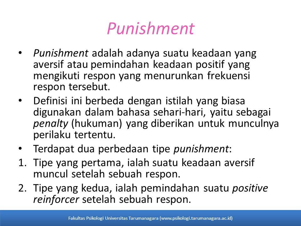 Punishment Punishment adalah adanya suatu keadaan yang aversif atau pemindahan keadaan positif yang mengikuti respon yang menurunkan frekuensi respon tersebut.