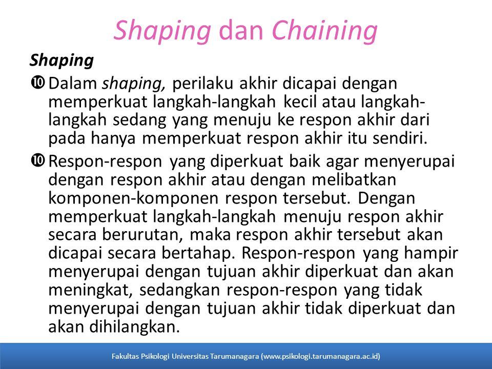 Shaping dan Chaining Shaping  Dalam shaping, perilaku akhir dicapai dengan memperkuat langkah-langkah kecil atau langkah- langkah sedang yang menuju ke respon akhir dari pada hanya memperkuat respon akhir itu sendiri.