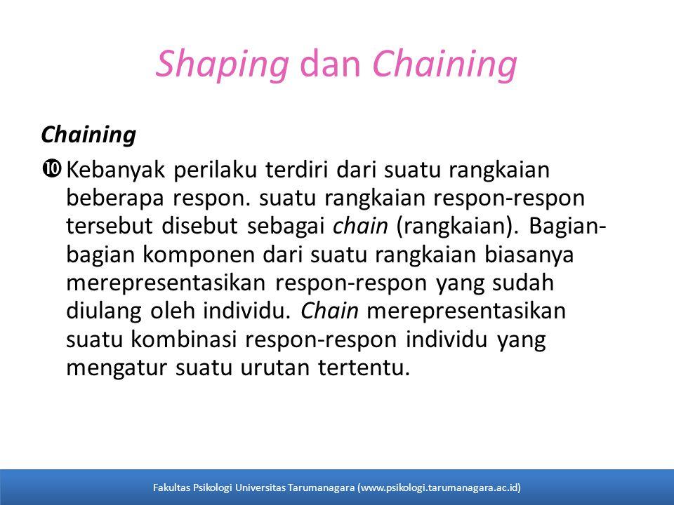 Shaping dan Chaining Chaining  Kebanyak perilaku terdiri dari suatu rangkaian beberapa respon.