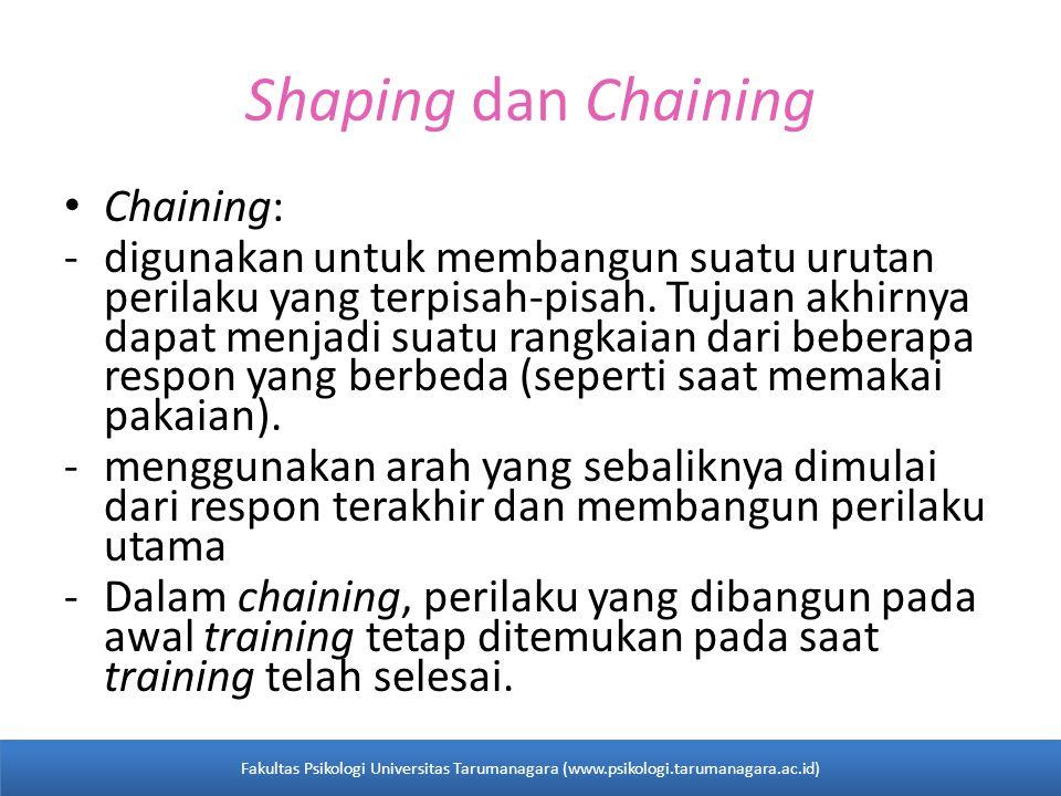 Shaping dan Chaining Chaining: -digunakan untuk membangun suatu urutan perilaku yang terpisah-pisah.
