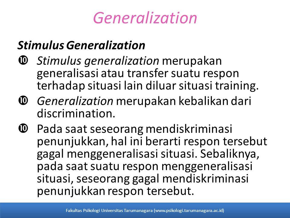 Generalization Stimulus Generalization  Stimulus generalization merupakan generalisasi atau transfer suatu respon terhadap situasi lain diluar situasi training.