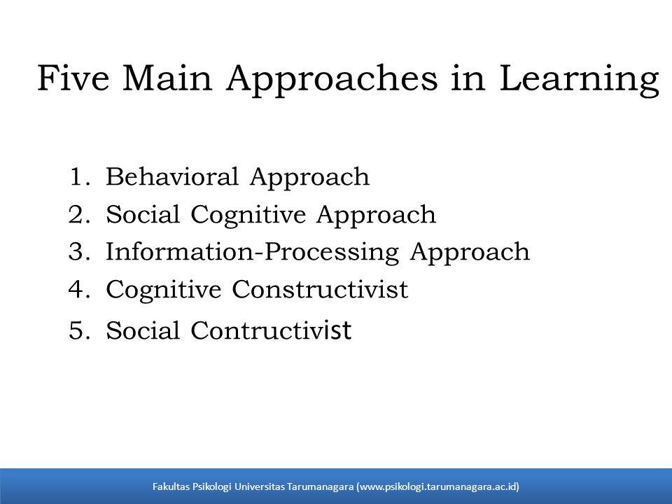 1.Behavioral Approach 2.Social Cognitive Approach 3.Information-Processing Approach 4.Cognitive Constructivist 5.Social Contructiv ist Fakultas Psikologi Universitas Tarumanagara (www.psikologi.tarumanagara.ac.id) Five Main Approaches in Learning