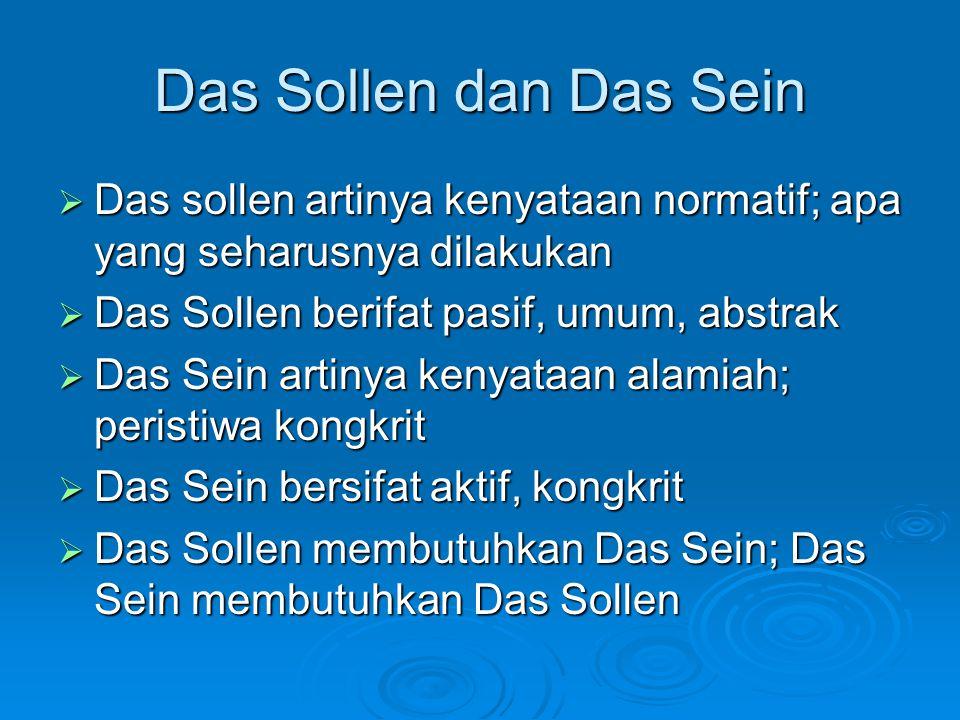 Das Sollen dan Das Sein  Das sollen artinya kenyataan normatif; apa yang seharusnya dilakukan  Das Sollen berifat pasif, umum, abstrak  Das Sein ar