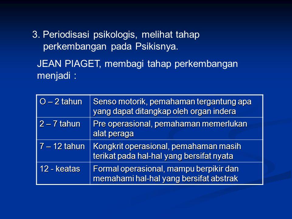 3.Periodisasi psikologis, melihat tahap perkembangan pada Psikisnya.