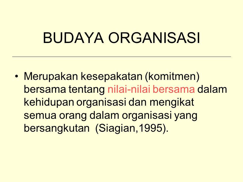 BUDAYA ORGANISASI Merupakan kesepakatan (komitmen) bersama tentang nilai-nilai bersama dalam kehidupan organisasi dan mengikat semua orang dalam organ