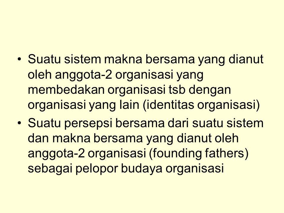Suatu sistem makna bersama yang dianut oleh anggota-2 organisasi yang membedakan organisasi tsb dengan organisasi yang lain (identitas organisasi) Sua