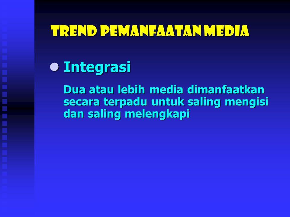 Trend Pemanfaatan media Integrasi Integrasi Konvergensi Konvergensi Interaktif Interaktif On-line/Jaringan/e-learning On-line/Jaringan/e-learning