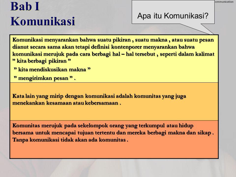 Chapter 1: Universals of Interpersonal Communication Bab I Komunikasi Apa itu Komunikasi.
