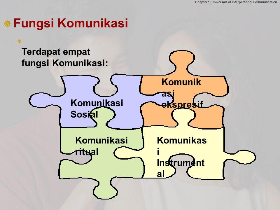 Chapter 1: Universals of Interpersonal Communication   Fungsi Komunikasi Komunikasi Sosial Komunik asi ekspresif Komunikasi ritual Komunikas i Instrument al Terdapat empat fungsi Komunikasi: