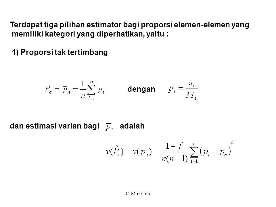 C.Maksum Terdapat tiga pilihan estimator bagi proporsi elemen-elemen yang memiliki kategori yang diperhatikan, yaitu : 1) Proporsi tak tertimbang deng
