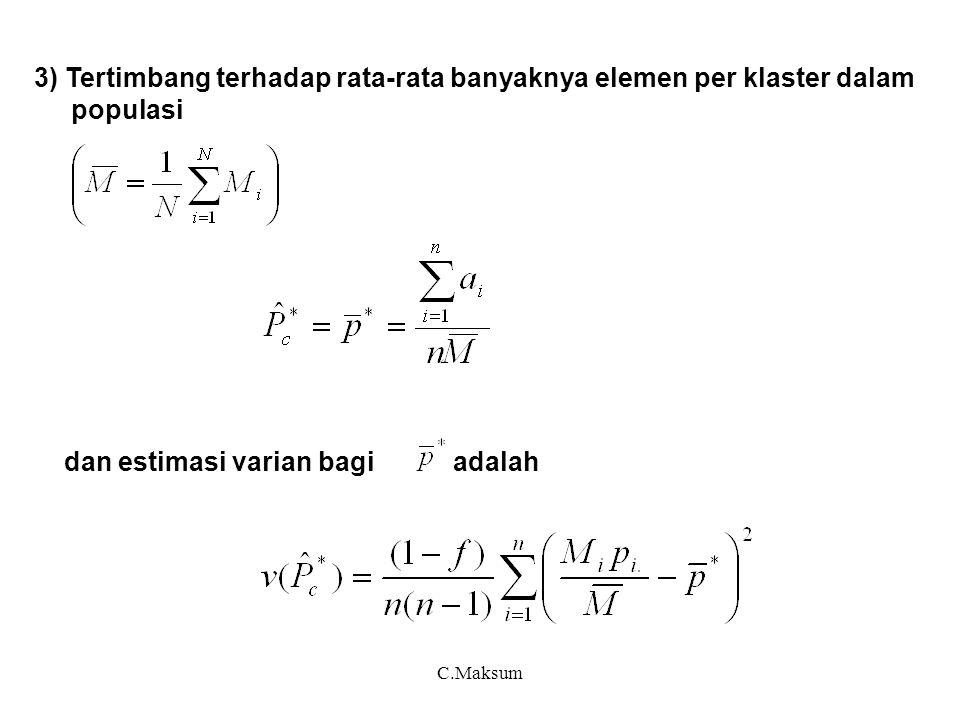 C.Maksum 3) Tertimbang terhadap rata-rata banyaknya elemen per klaster dalam populasi dan estimasi varian bagi adalah