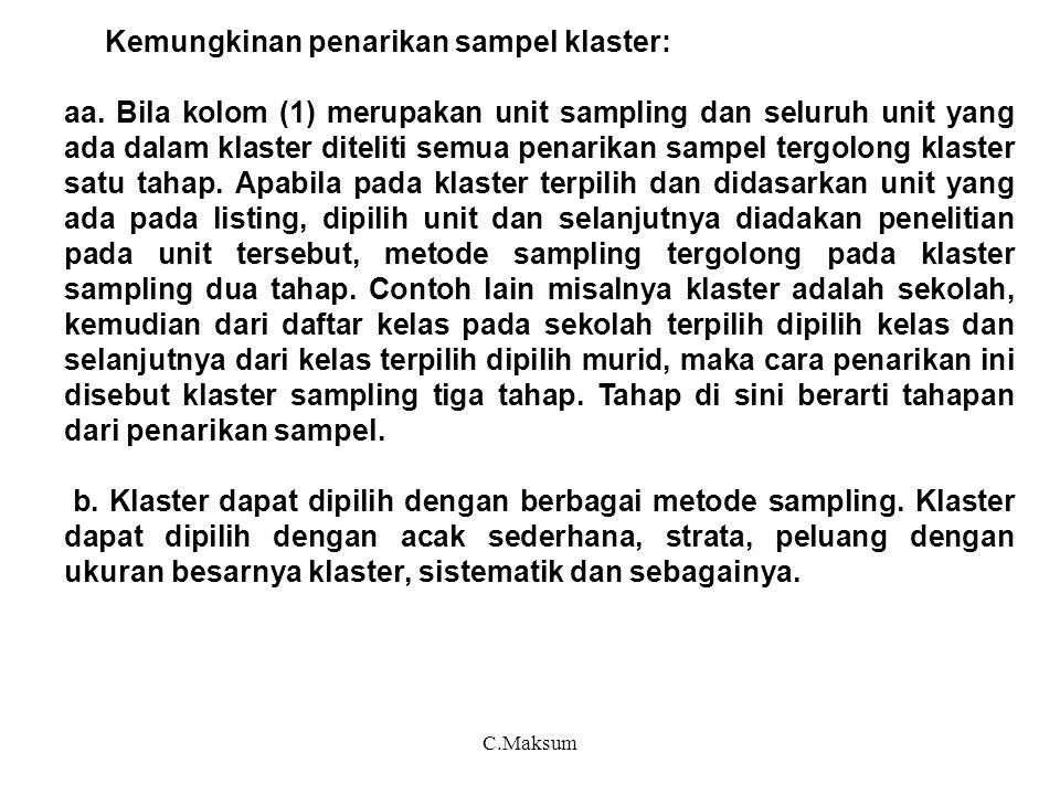 C.Maksum Kemungkinan penarikan sampel klaster: aa. Bila kolom (1) merupakan unit sampling dan seluruh unit yang ada dalam klaster diteliti semua penar