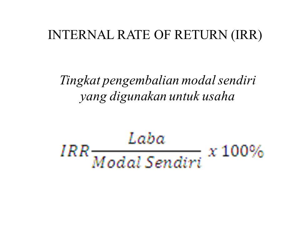 INTERNAL RATE OF RETURN (IRR) Tingkat pengembalian modal sendiri yang digunakan untuk usaha