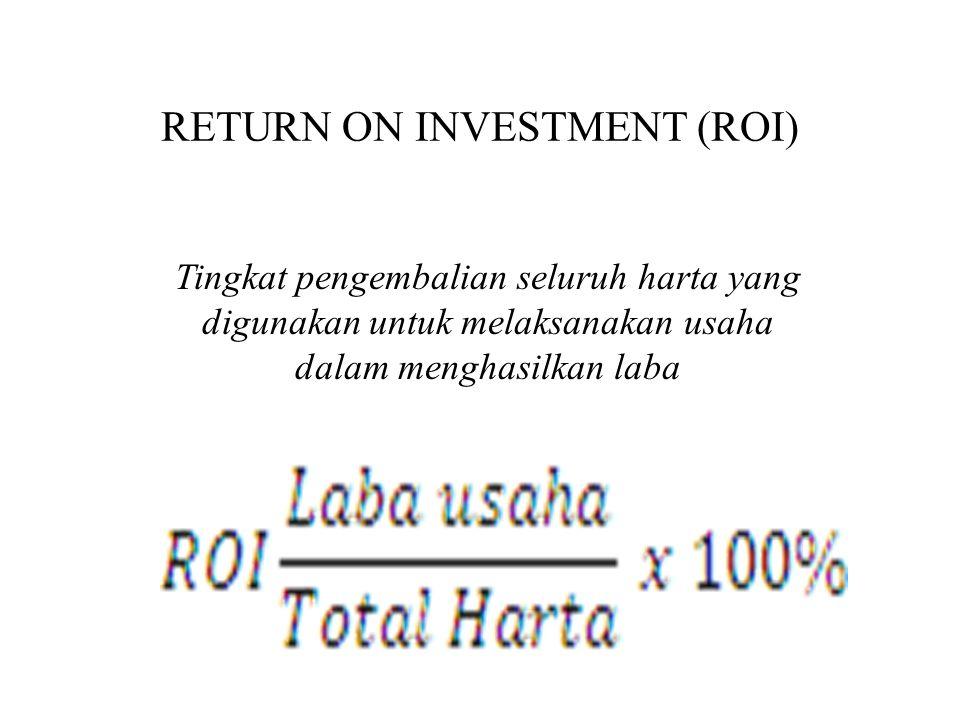 RETURN ON INVESTMENT (ROI) Tingkat pengembalian seluruh harta yang digunakan untuk melaksanakan usaha dalam menghasilkan laba