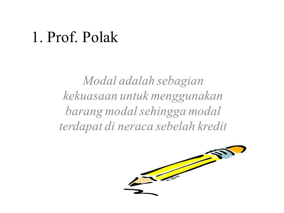 1. Prof. Polak Modal adalah sebagian kekuasaan untuk menggunakan barang modal sehingga modal terdapat di neraca sebelah kredit