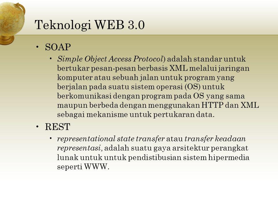 Teknologi WEB 3.0 SOAP Simple Object Access Protocol ) adalah standar untuk bertukar pesan-pesan berbasis XML melalui jaringan komputer atau sebuah ja