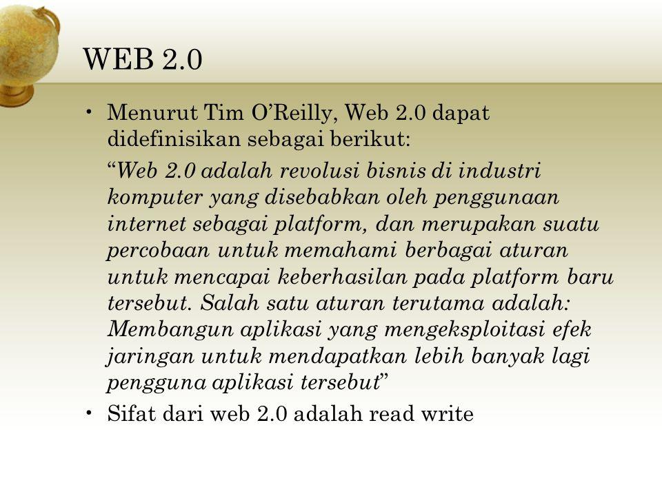 """WEB 2.0 Menurut Tim O'Reilly, Web 2.0 dapat didefinisikan sebagai berikut: """" Web 2.0 adalah revolusi bisnis di industri komputer yang disebabkan oleh"""