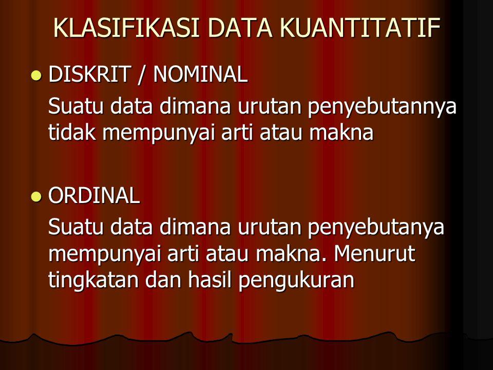 KLASIFIKASI DATA KUANTITATIF DISKRIT / NOMINAL DISKRIT / NOMINAL Suatu data dimana urutan penyebutannya tidak mempunyai arti atau makna ORDINAL ORDINA