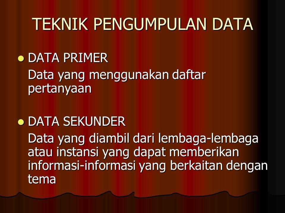 TEKNIK PENGUMPULAN DATA DATA PRIMER DATA PRIMER Data yang menggunakan daftar pertanyaan DATA SEKUNDER DATA SEKUNDER Data yang diambil dari lembaga-lem