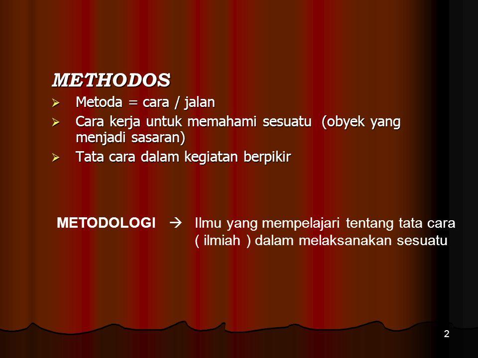 2 METHODOS  Metoda = cara / jalan  Cara kerja untuk memahami sesuatu (obyek yang menjadi sasaran)  Tata cara dalam kegiatan berpikir METODOLOGI  I
