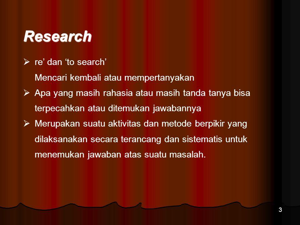 3 Research  re' dan 'to search' Mencari kembali atau mempertanyakan  Apa yang masih rahasia atau masih tanda tanya bisa terpecahkan atau ditemukan j